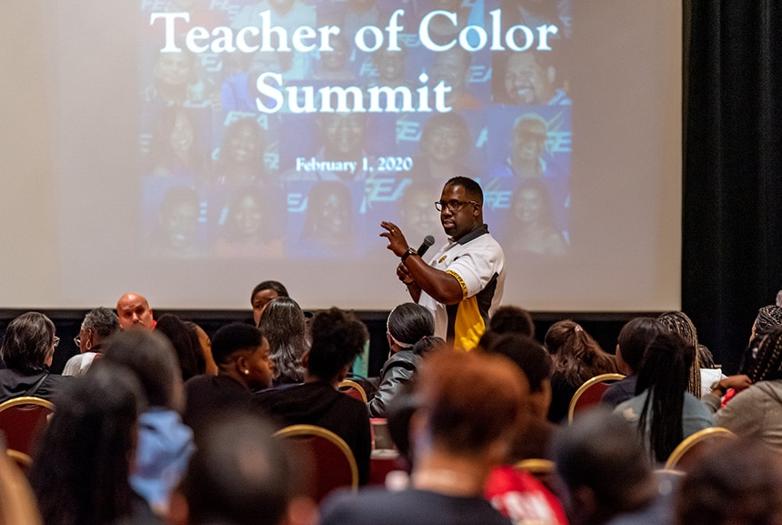 FEA President Fedrick Ingram welcomes attendees to the Teacher of Color Summit on February 1, 2020 in Orlando.