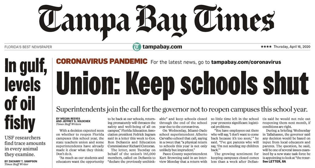 Tampa Bay Times front page